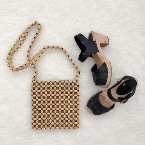Wood bead purse